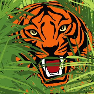 vector illustration of a tiger hunting in jungle